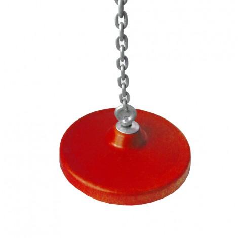 Tányérhinta lánccal alubetétes kerek, piros szín 2 m