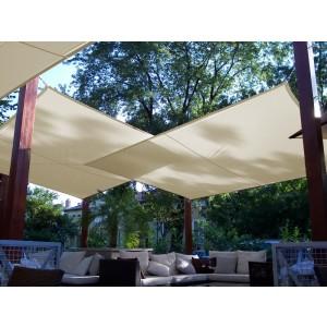 Napvitorla - Négyszög 5 x 5 m PRÉMIUM, elefántcsont