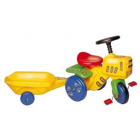 Kerti traktor utánfutóval