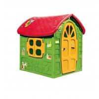 Játszóház zöld, piros tetővel